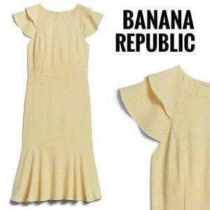 NWOT Banana Republic Flutter-Sleeve Midi Dress